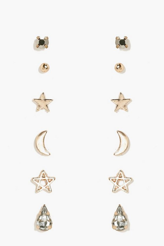 Renee Moon And Star Mixed Earring Stud 6pk