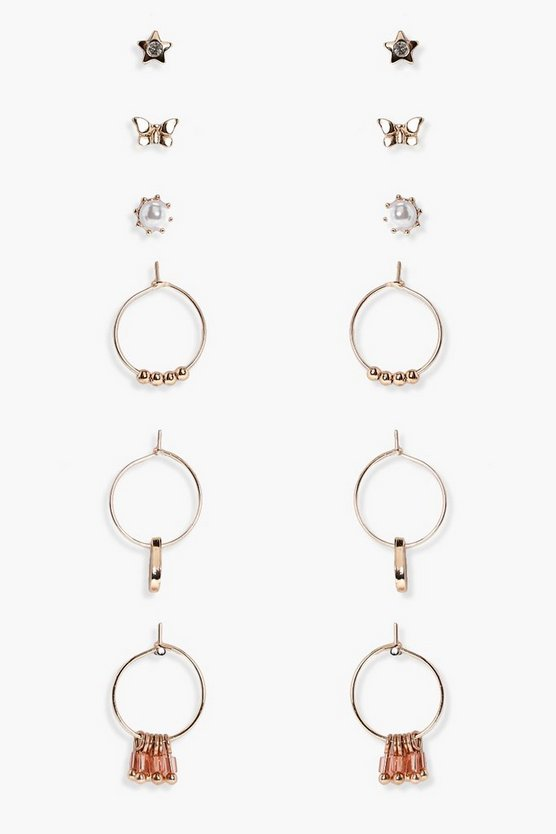 Jazmyn Hoop And Stud Mixed Earring Set 6pk