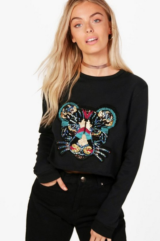 Emily Sequin Tiger Applique Sweat