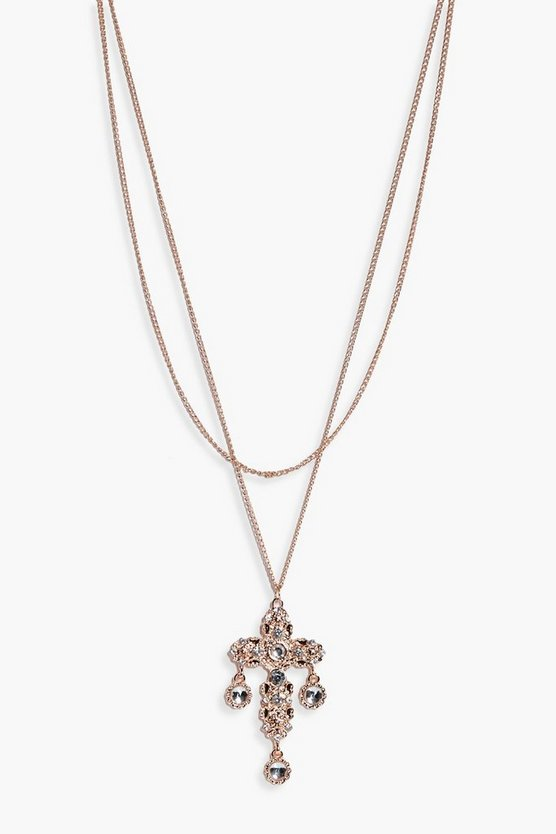 Layered Diamante Cross Necklace