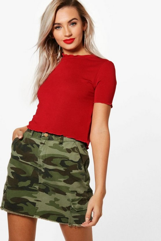 Polly Basic Ruffle Edge High Neck Top