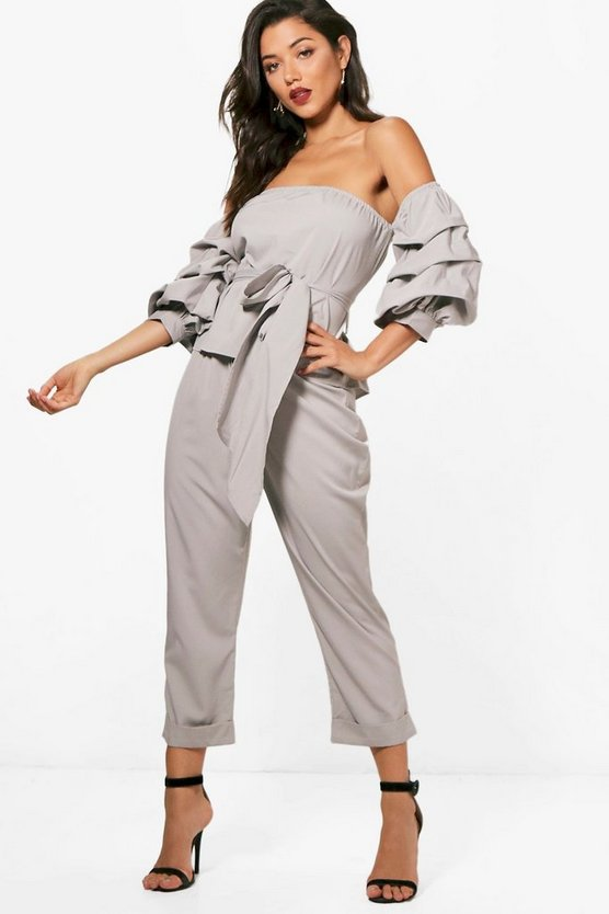 Tie Waist Bardot and Woven Trouser Set