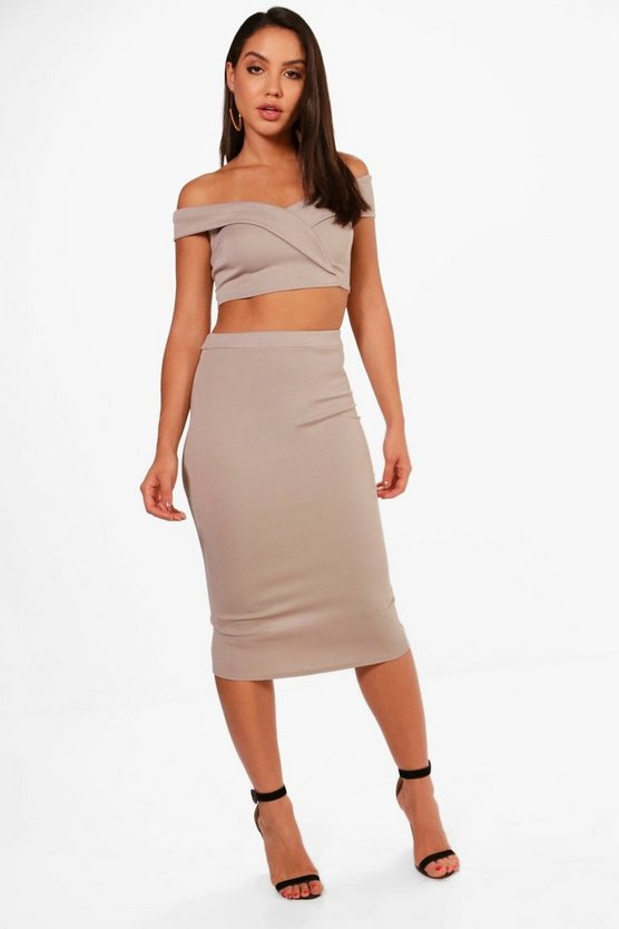Kat Off Shoulder Crop and Skirt Co-ord