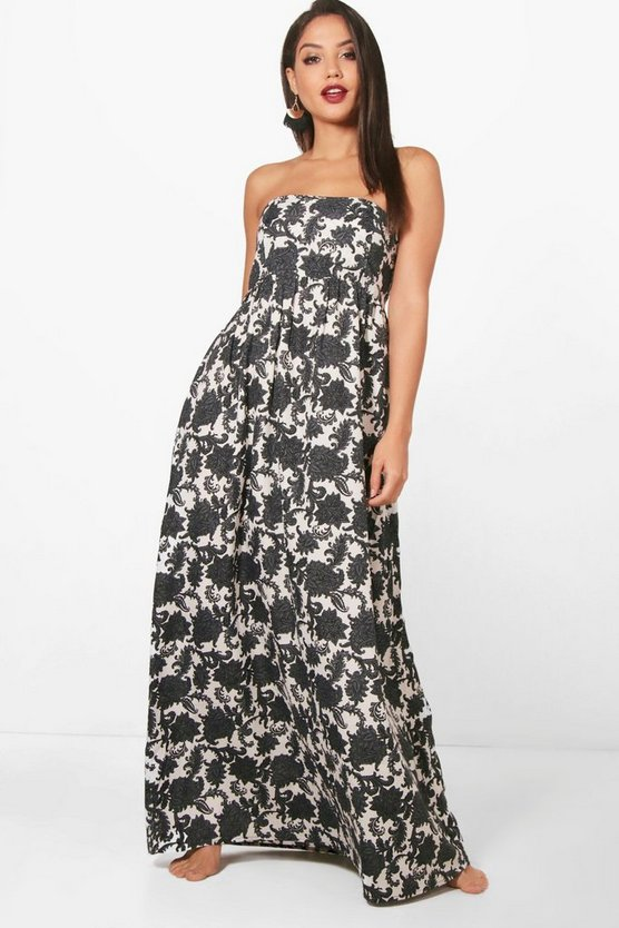 Maya Dark Floral Shirred Maxi Dress