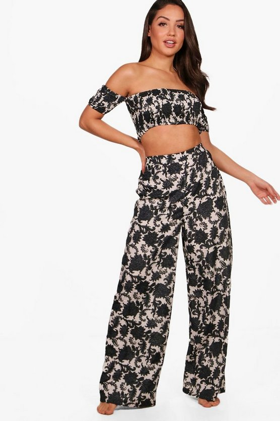 Fran Dark Floral Bardot Beach Co-Ord