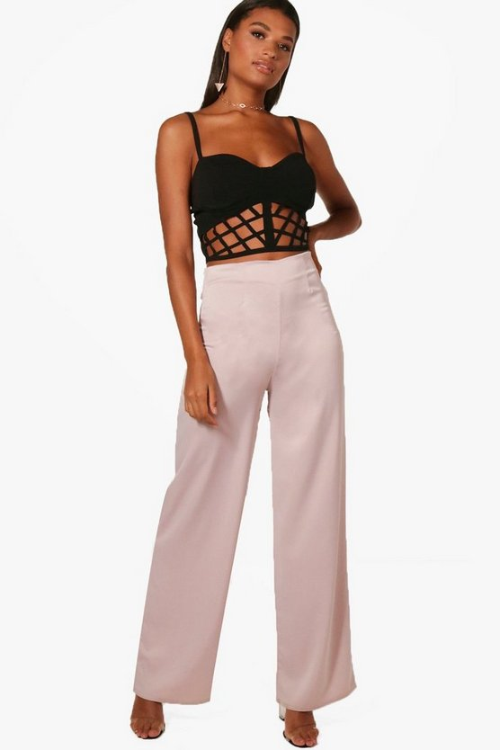 Tan Woven Matte Satin Wide Leg Trousers