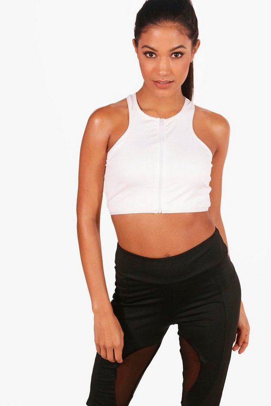 Erin Fit Zip Through Workout Crop