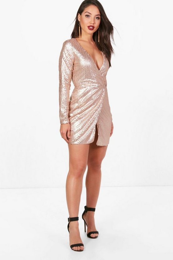 Boutique Marlin Sequin Wrap Bodycon Dress
