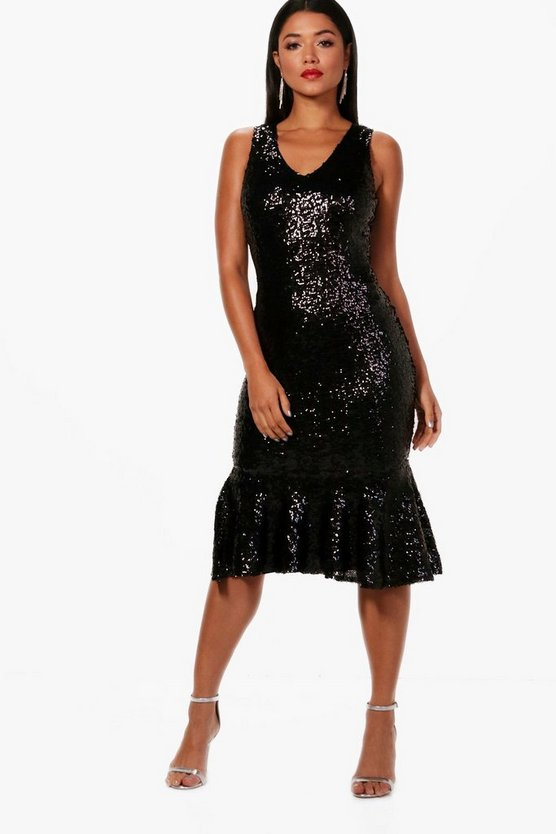 Boutique Sara Sequin Frill Hem Midi Dress