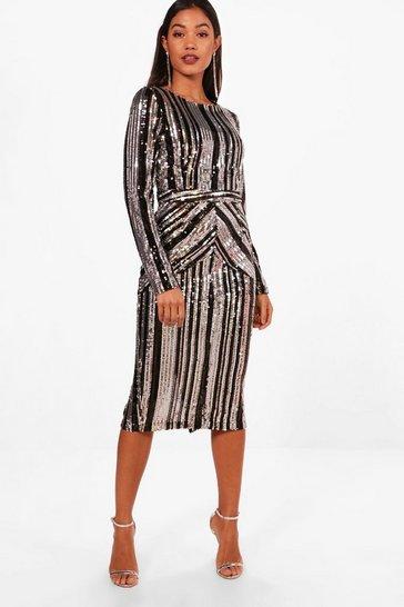 Black Boutique Lara Stripe Sequin Midi Dress
