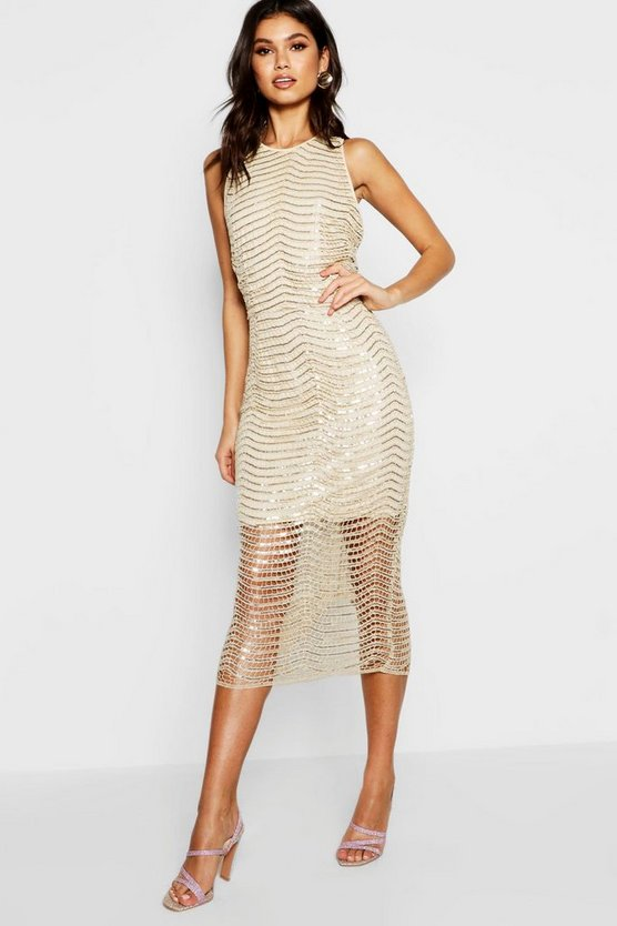 Boutique Zoe Sequin Open Back Midi Dress