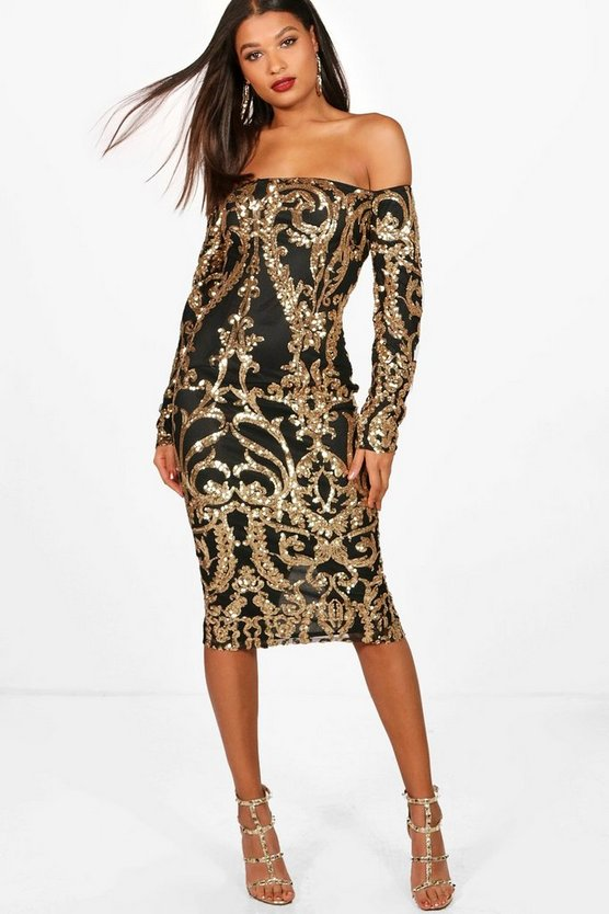 Boutique Kiki Sequin Off the Shoulder Dress