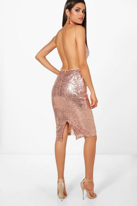 Boutique Maya Sequin Open Back Midi Dress