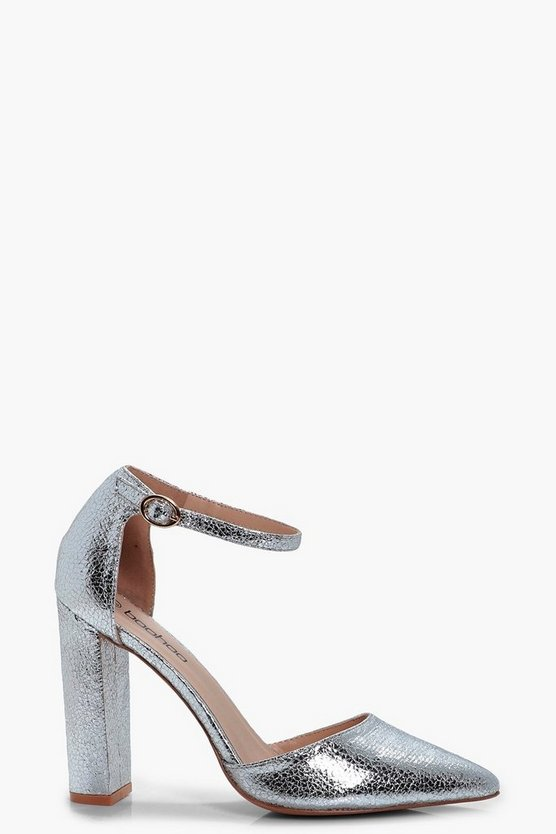Erin Metallic Ankle Band Pointed Toe 2 Part Courts
