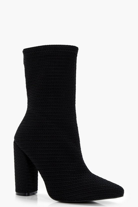 Lilly Woven Cylinder Heel Sock Boots