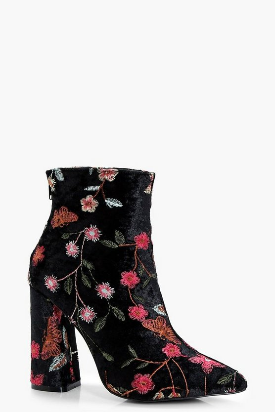 Sophia Embroidered Velvet Ankle Boots