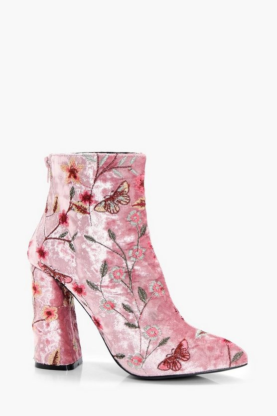 Embroidered Velvet Ankle Boot