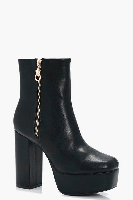 Poppy Extreme Platform Zip Detail Ankle Boot