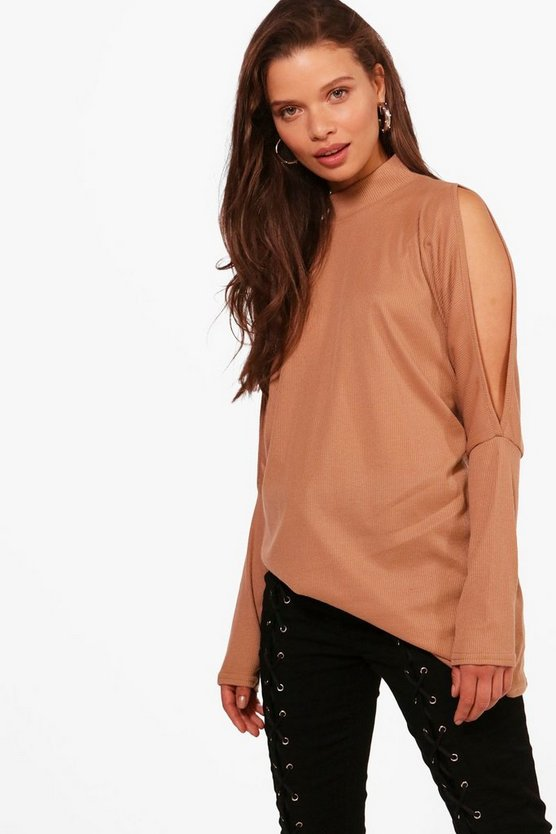 Ivy High Neck Cold Shoulder Batwing Top