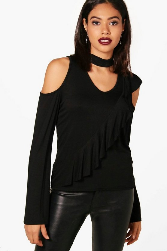 Cold Shoulder Ruffle Sleeve Choker Top