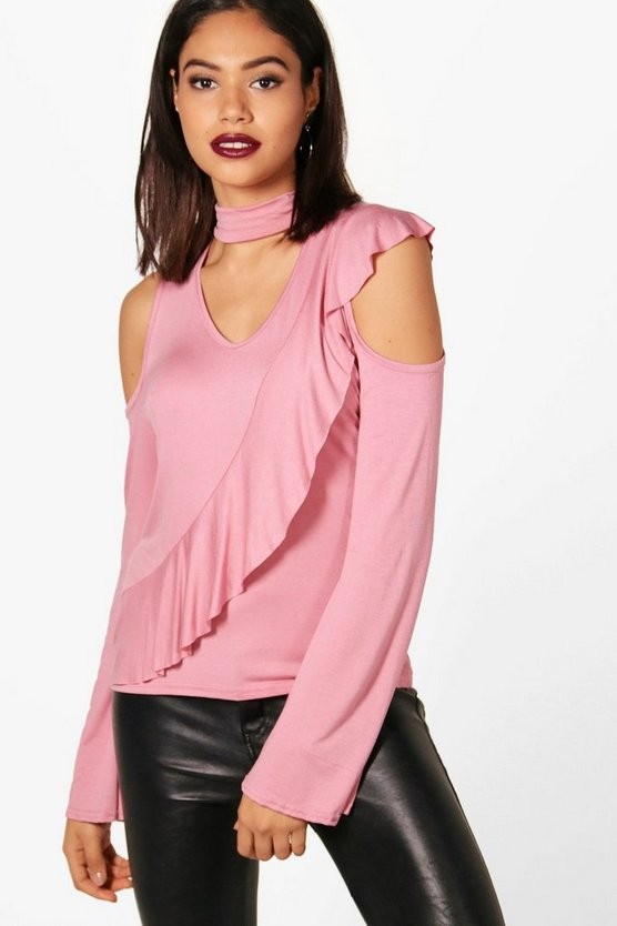 Eva Cold Shoulder Ruffle Sleeve Choker Top