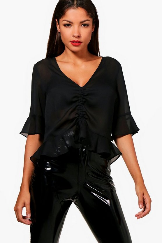 Ruched Front Ruffle Hem Blouse