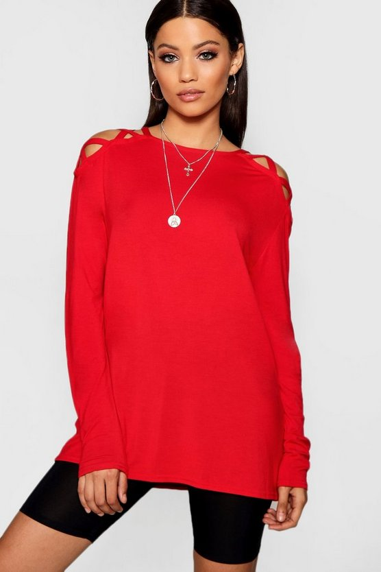 Emilie Long Sleeve Strap Shoulder Tee