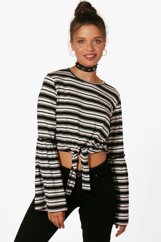 Lauren Stripe Tie Front Flare Sleeve Top