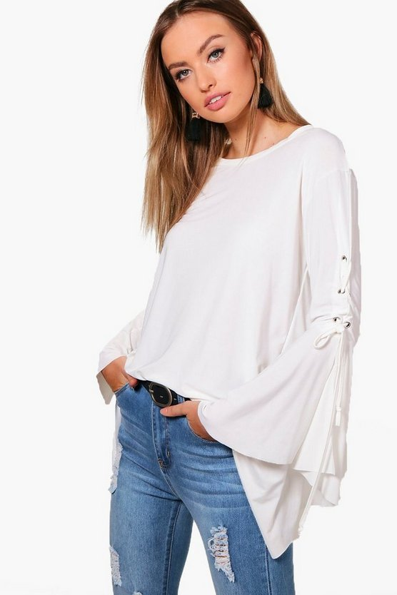 Milly Lace Up Flare Sleeve Top