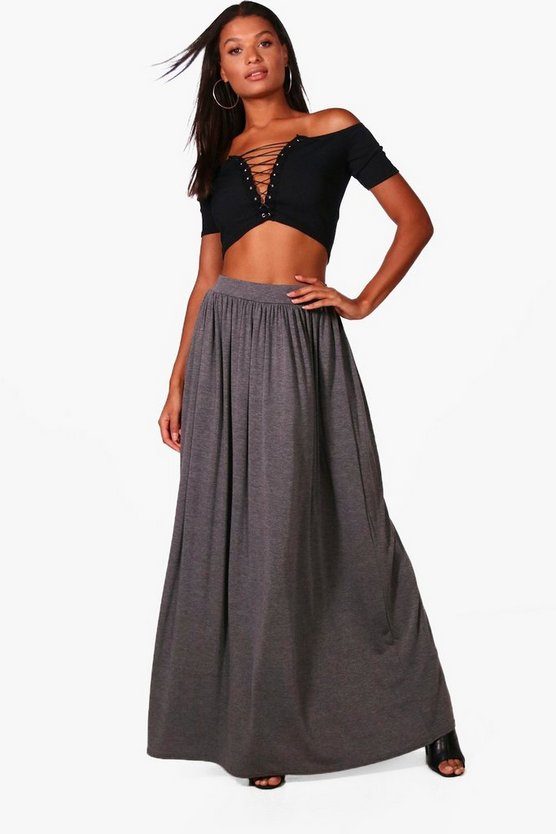 Sophia Floor Sweeping Basic Maxi Skirt
