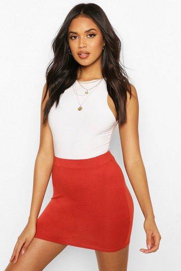 Rust Basic Jersey Mini Skirt