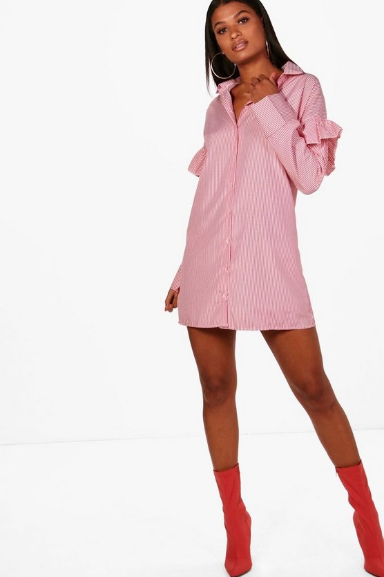 Rosie Ruffle Shoulder Stripe Shirt Dress