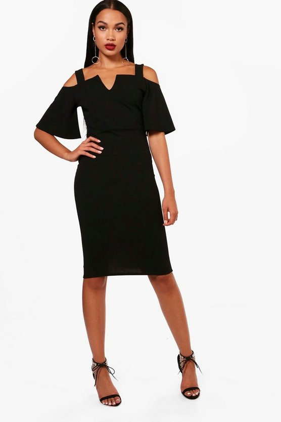 Formal Cold Shoulder Midi Dress