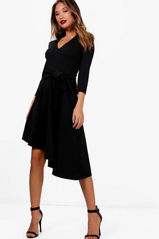 Belted Asymmetric Midi Skater Dress