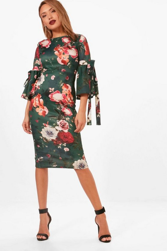 Mimi Floral Tie Sleeve Midi Dress