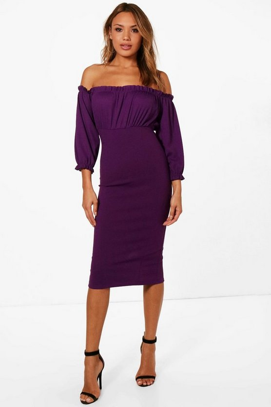 Kristie Frill Detail Off the Shoulder Midi Dress
