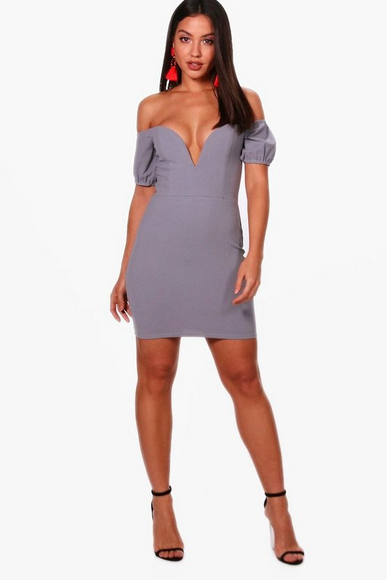 Deanna V Bar Off the Shoulder Midi Dress