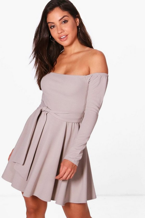 Melissa Off Shoulder Tie Waist Skater Dress