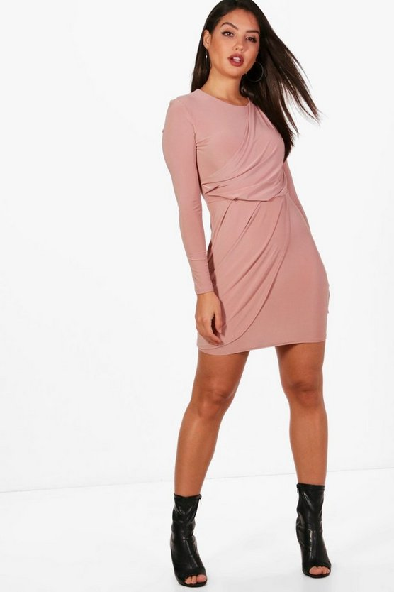 Ailsa Wrap Power Shoulder Bodycon Dress