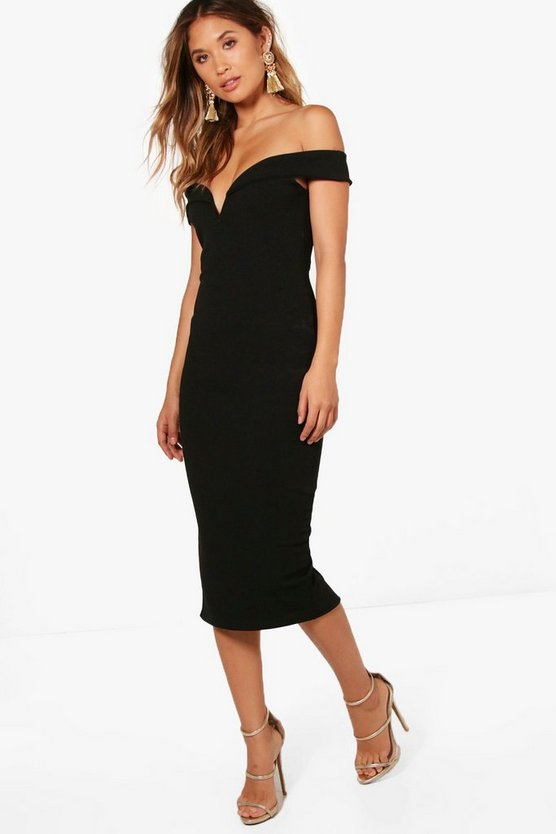 Jemima Off the Shoulder Detail Midi Dress