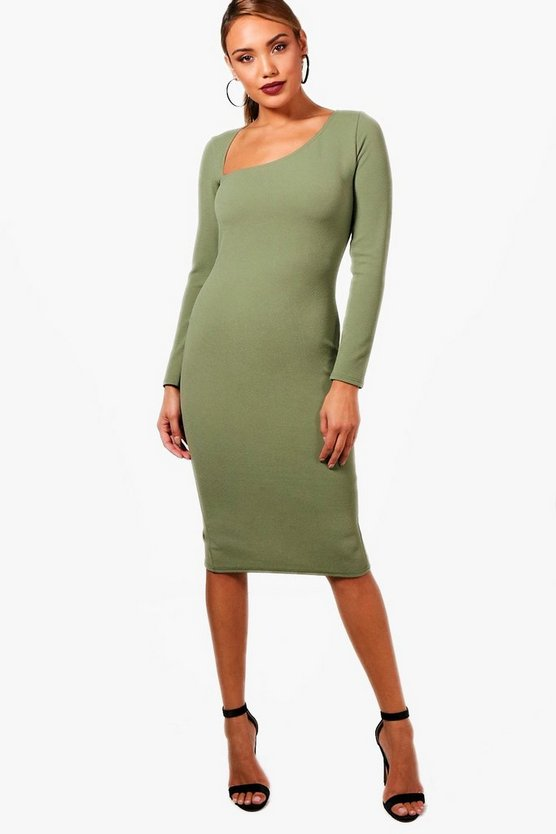 One Shoulder Asymmetric Detail Midi Dress