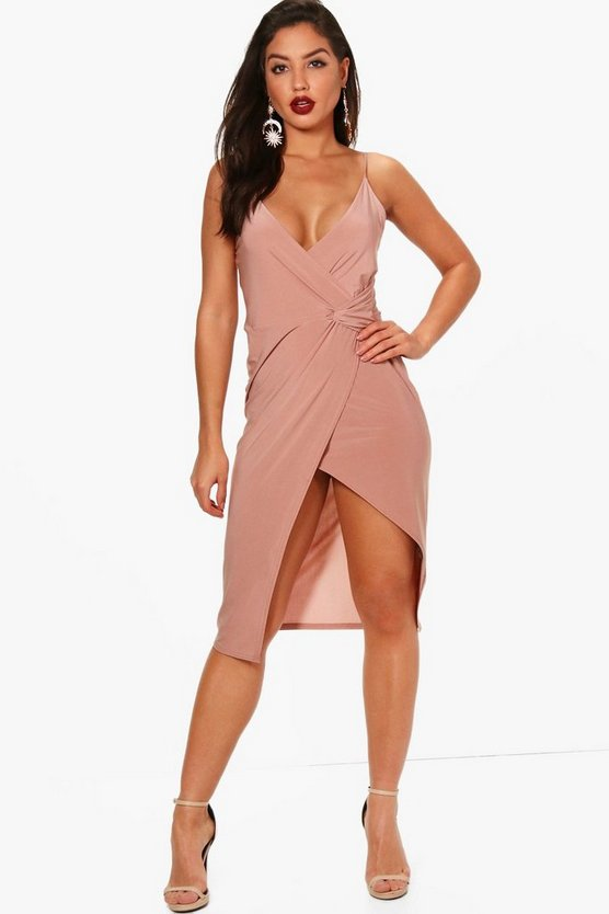 Maria Slinky Wrap Detail Midi Dress