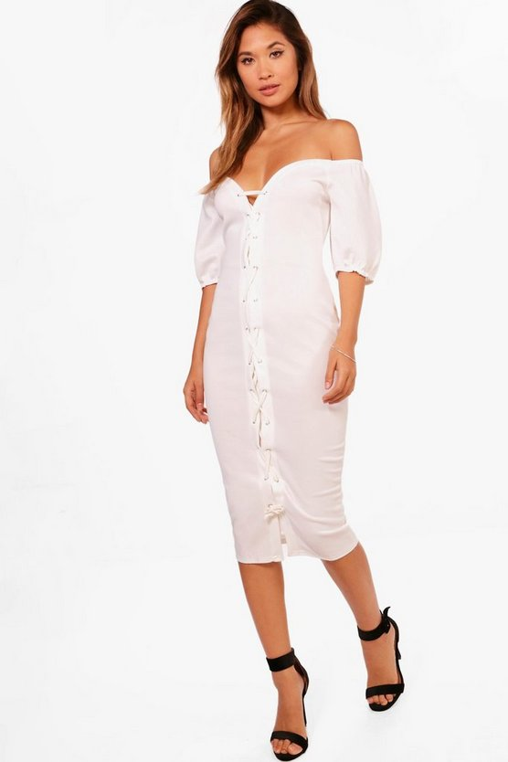 Lara Off The Shoulder Eyelet Midi Dress
