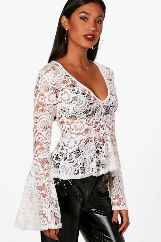 Lottie Flared Sleeve V Neck Lace Top