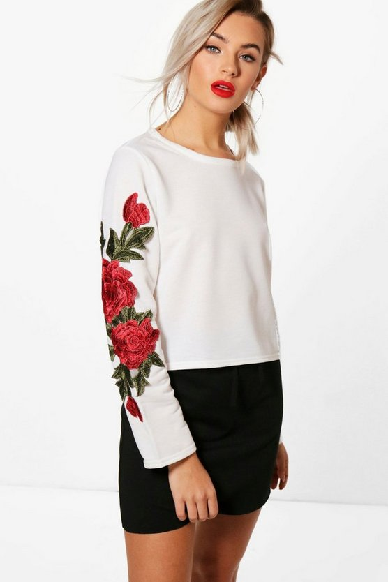 Alexis Floral Applique Crop Sweatshirt