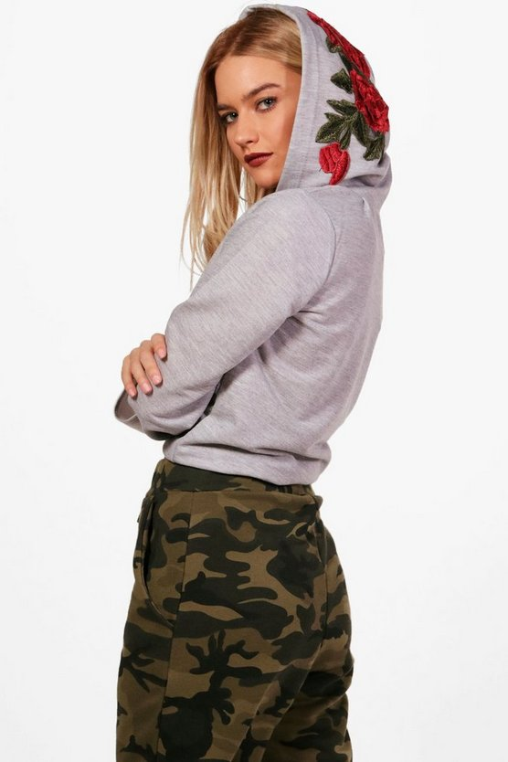 Riley Applique Hooded Crop Sweatshirt