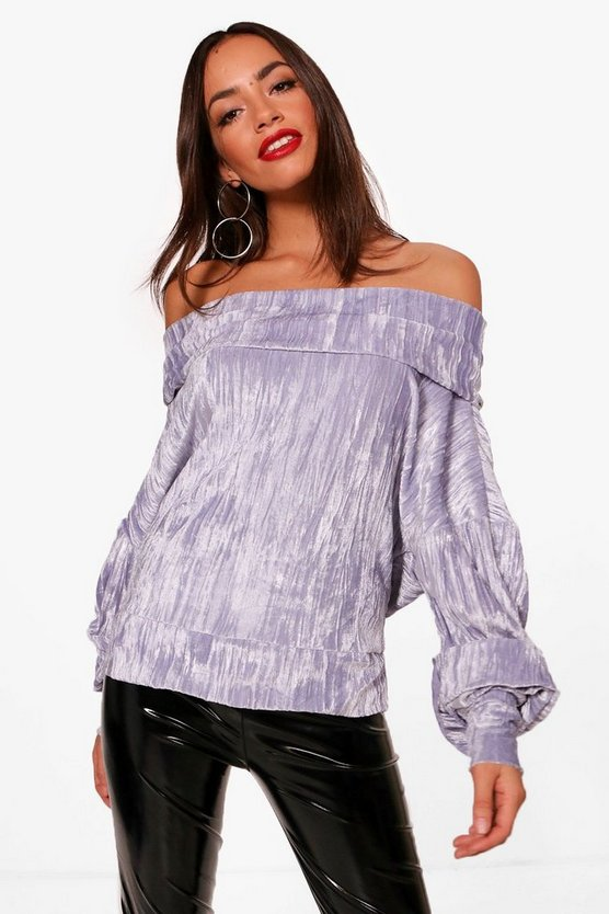 Mia Off The Shoulder Velvet Top