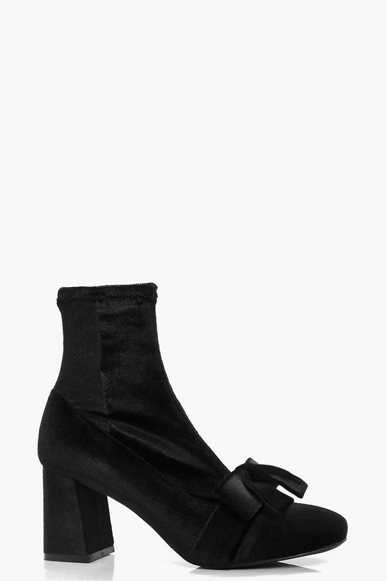 Jessica Bow Front Block Heel Sock Boot