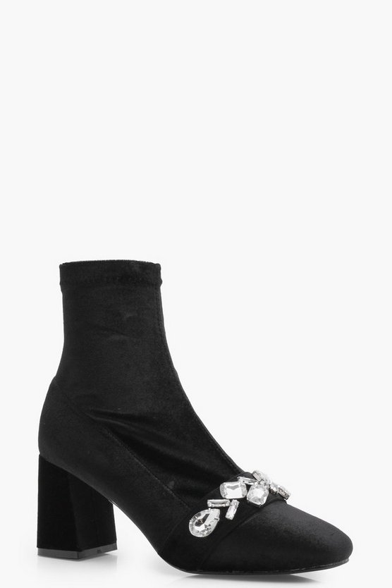 Embellish Block Heel Sock Boots