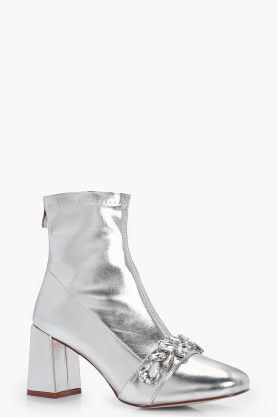 Metallic PU Embellish Trim Block Heel Sock Boots